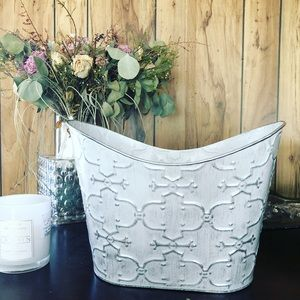 White + Silver Metallic Metal Bucket